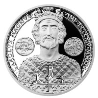 Silver 50 cents coin Charlemagne proof